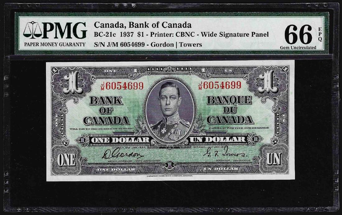 1937 $1 Bank of Canada Note PMG Gem Uncirculated 66EPQ