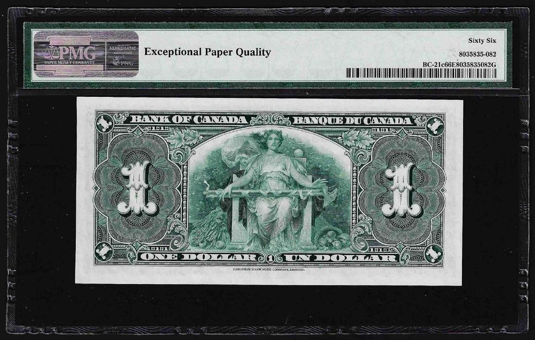 1937 $1 Bank of Canada Note PMG Gem Uncirculated 66EPQ - 2