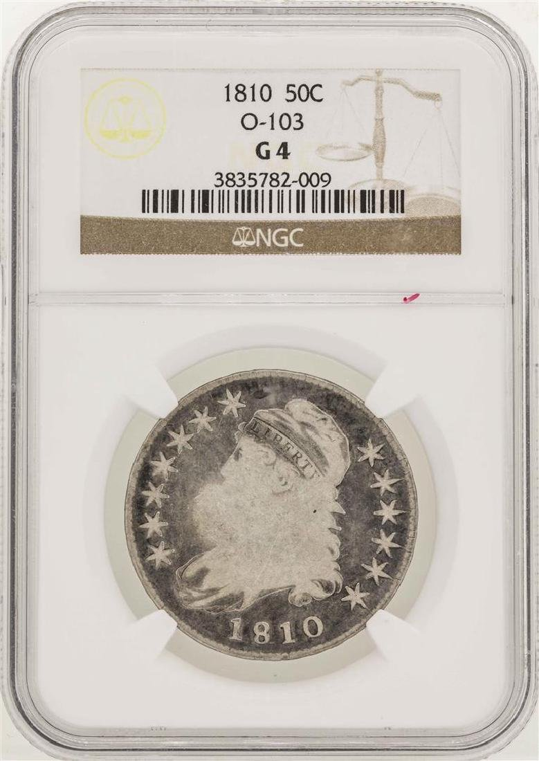 1810 Capped Bust Half Dollar Coin O-103 NGC G4