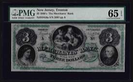 1860's $3 The Merchants Bank Trenton New Jersey