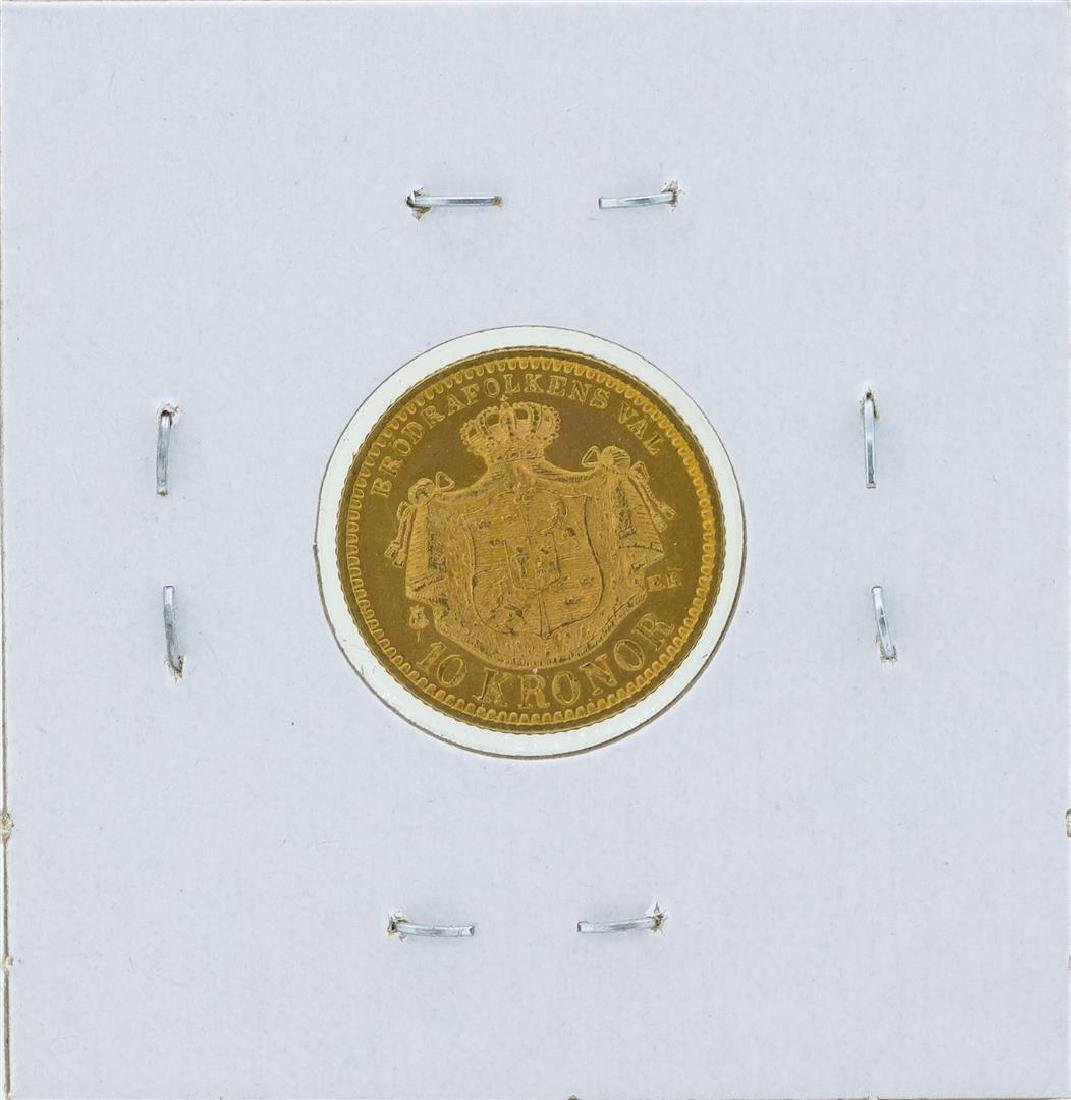 1895 Sweden 10 Kronor Gold Coin - 2