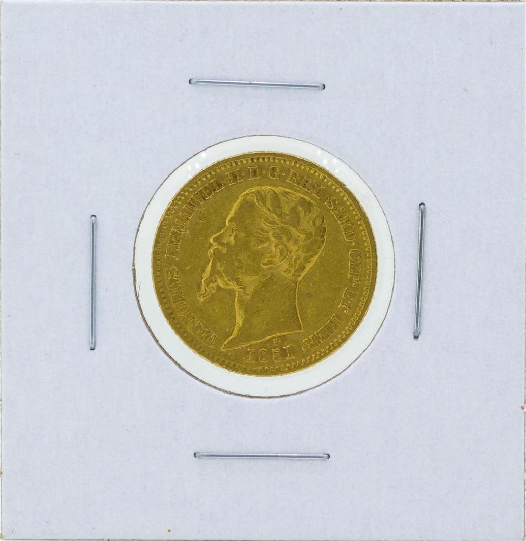 1851 Sardinia 20 Lire Gold Coin