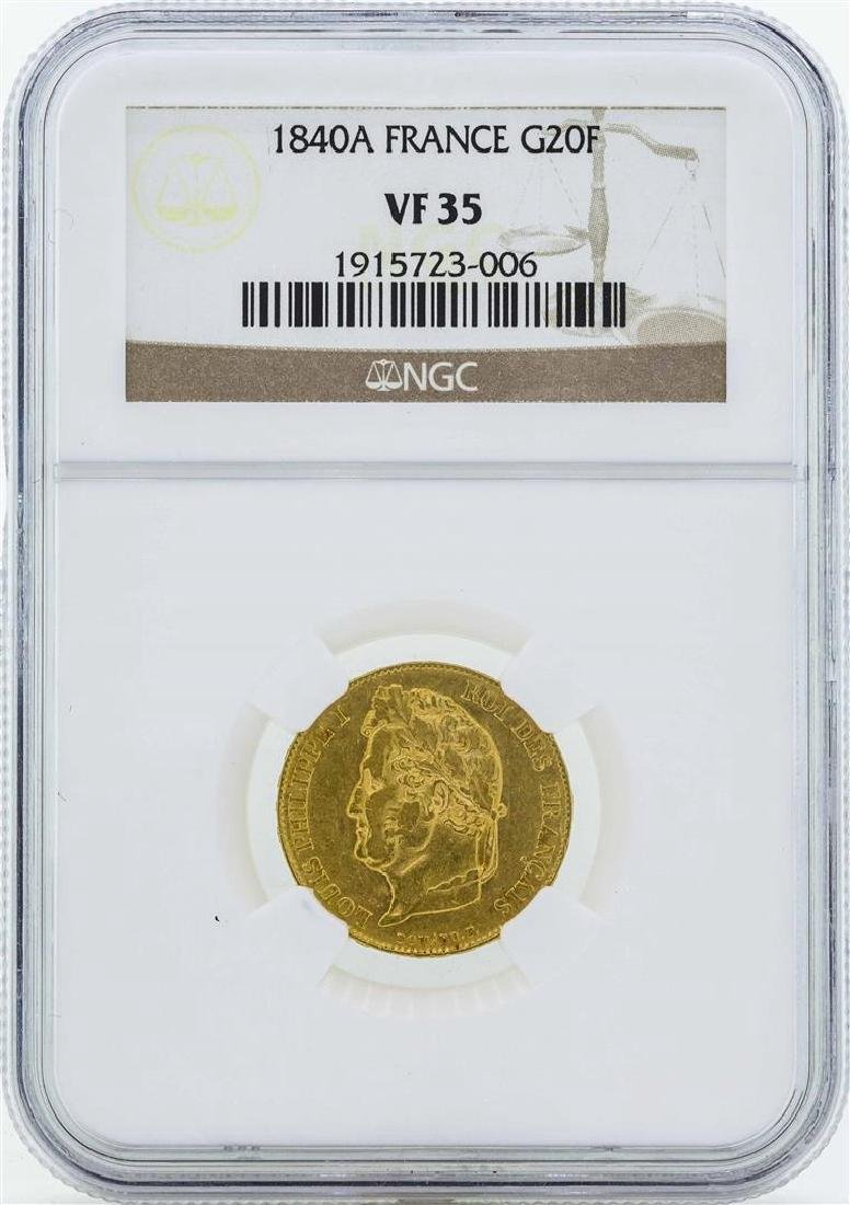 1840A France 20 Francs Gold Coin NGC VF35
