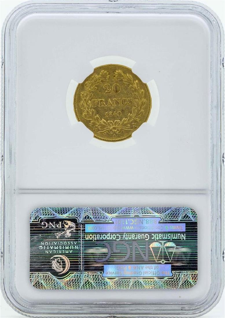 1840A France 20 Francs Gold Coin NGC VF35 - 2