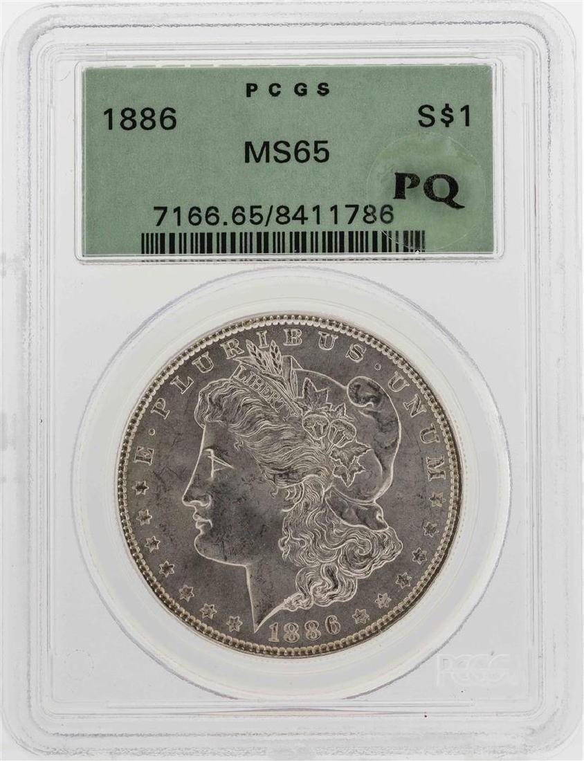 1886 $1 Morgan Silver Dollar Coin PCGS MS65 PQ