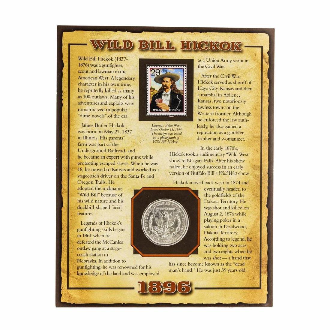 1896 $1 Morgan Silver Dollar Coin with Wild Bill Kickok - 2