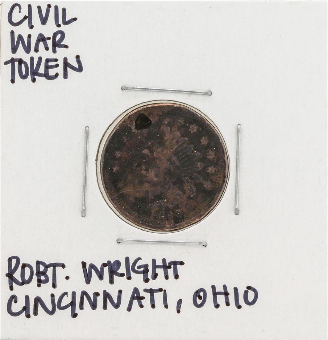 1863 Civil War Token Robert Wright Cincinnati Ohio