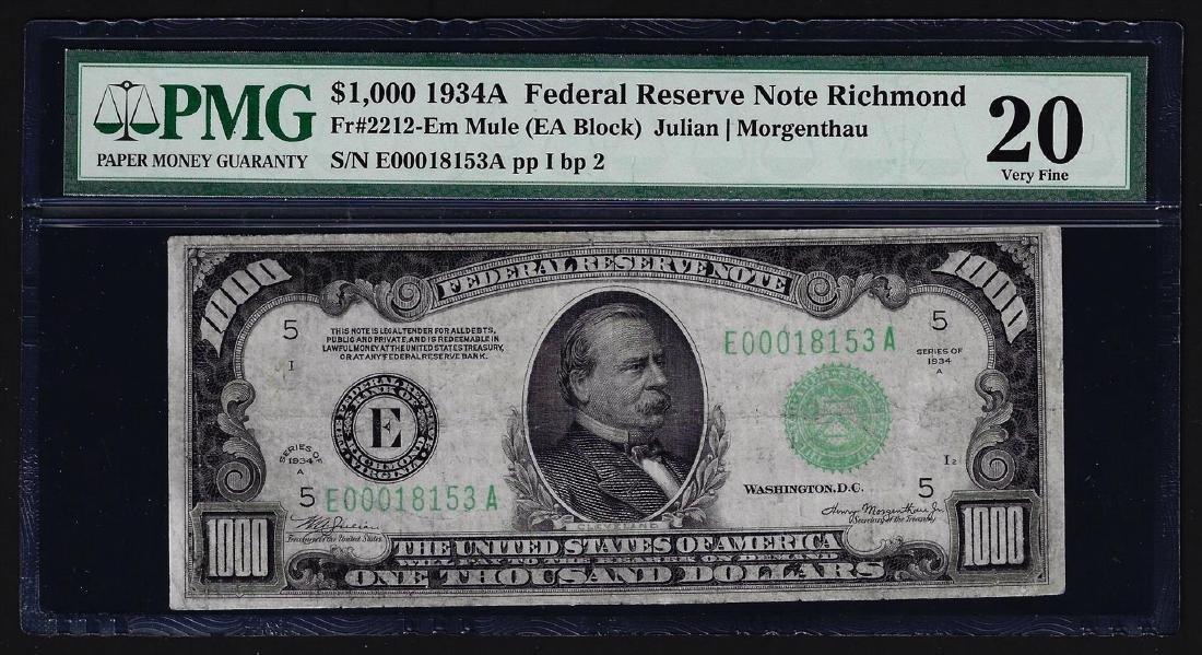 1934A $1,000 Mule Federal Reserve Note Richmond PMG