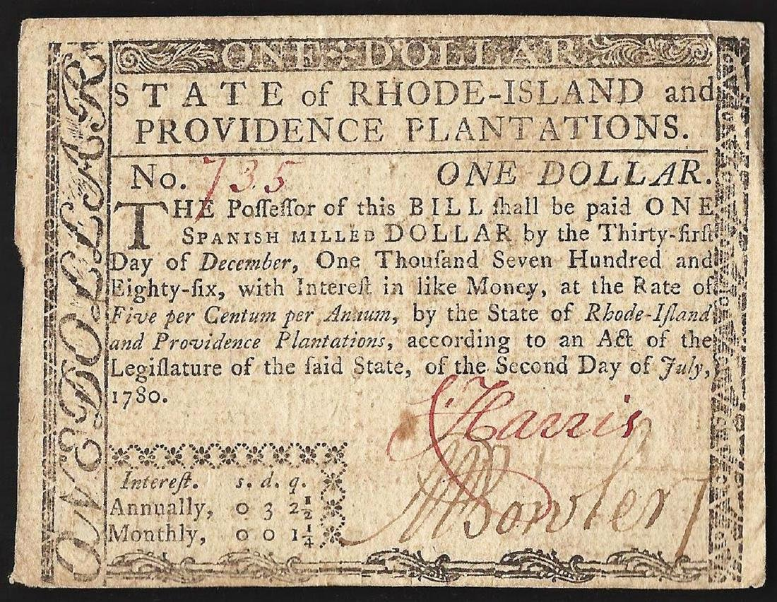 July 2, 1780 $1 Rhode Island Colonial Currency Note