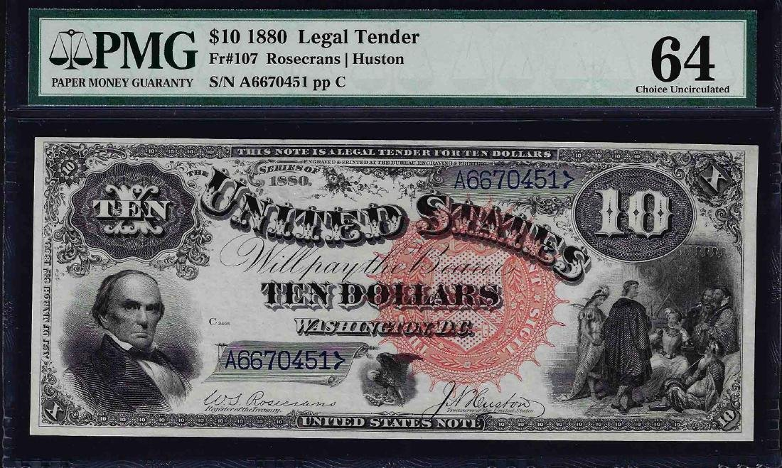 1880 $10 Jackass Legal Tender Note PMG Choice