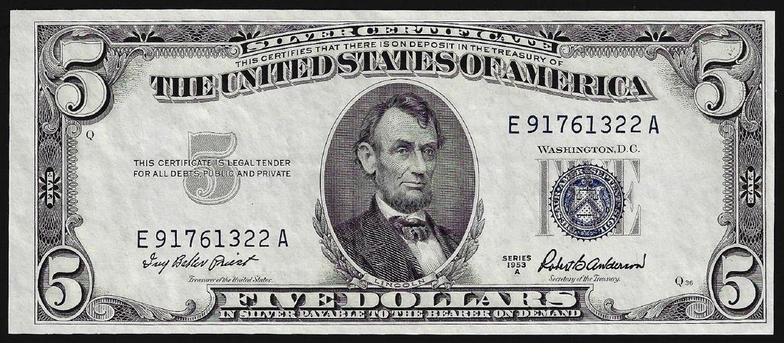 1953A $5 Silver Certificate Note Choice Uncirculated