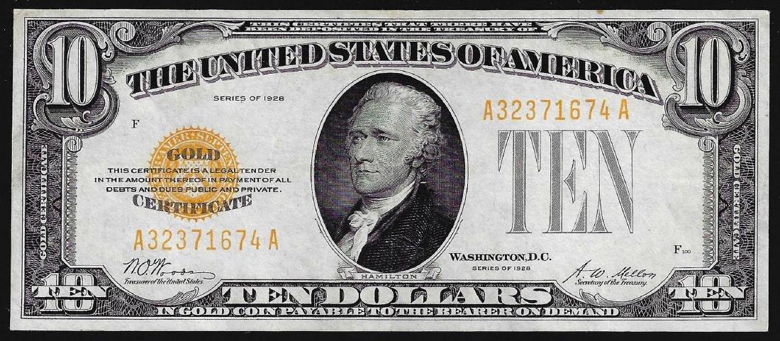 1928 $10 Gold Certificate Note