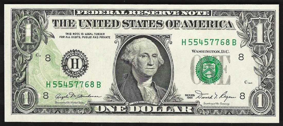 1981 $1 Federal Reserve Note Offset ERROR