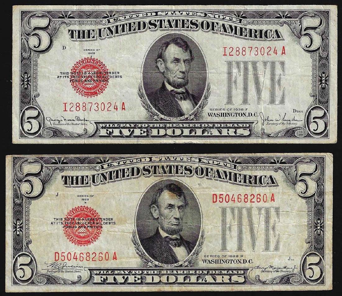 Lot of (2) 1928 $5 Legal Tender Notes