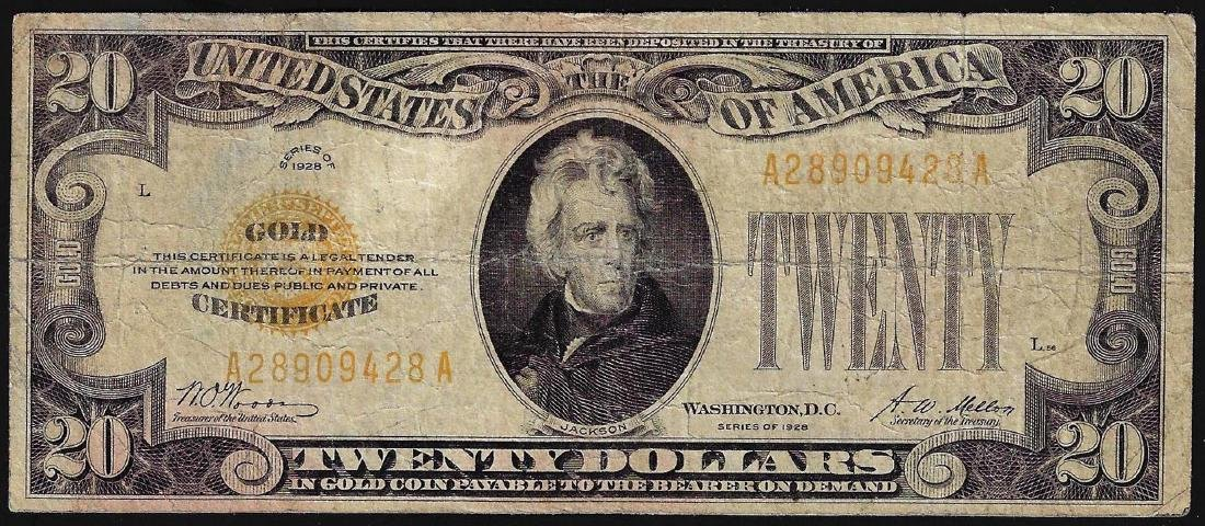 1928 $20 Gold Certificate Note
