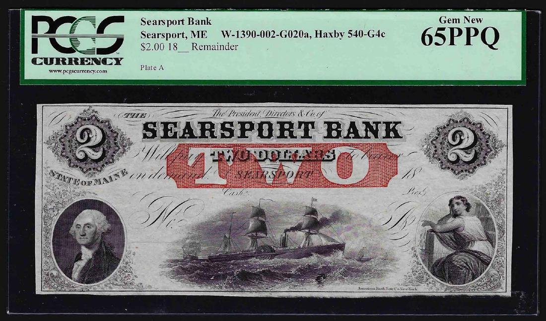 1800's $2 Searsport Bank Maine Obsolete Note PCGS Gem