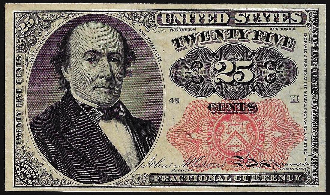 1874 Twenty Five Cents Fifth Issue Fractional Currency