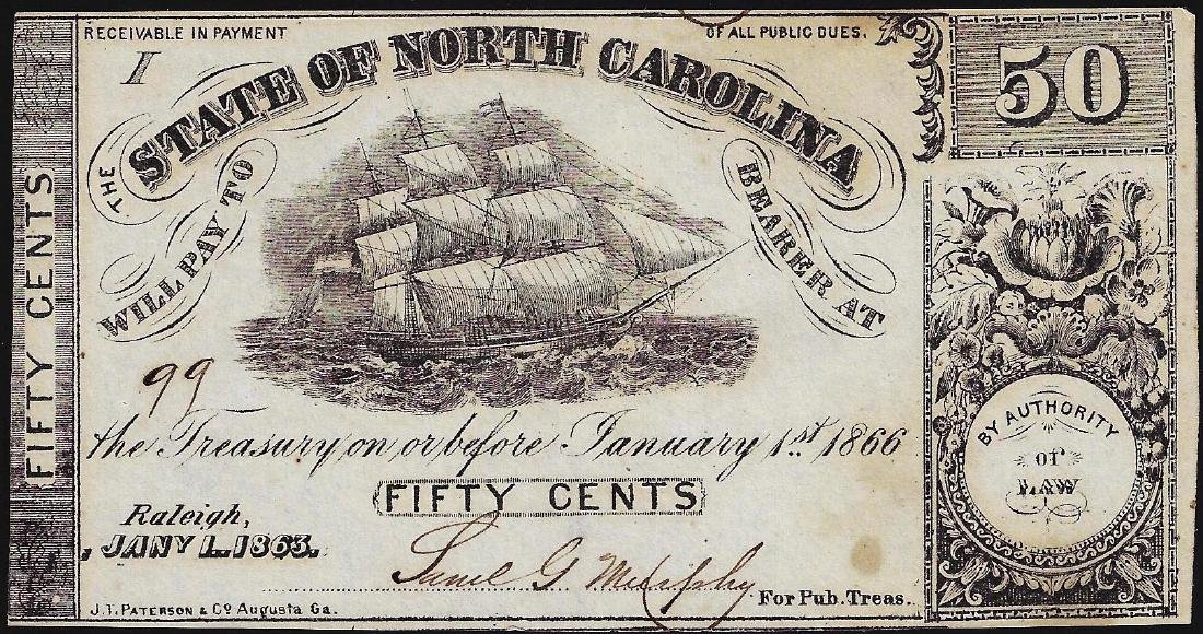1866 Fifty Cents State of North Carolina Obsolete Bank