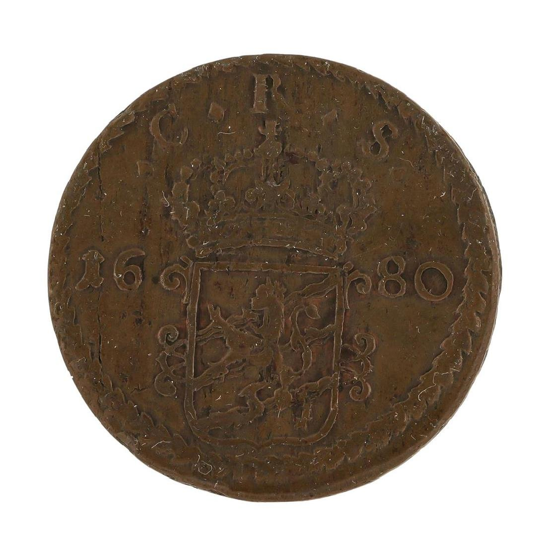 1680 Sweden Medieval Copper Coin KM246A