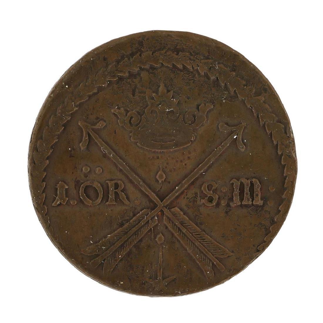 1680 Sweden Medieval Copper Coin KM246A - 2