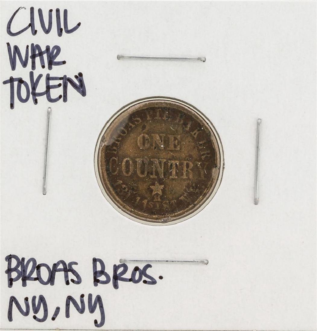 1863 Civil War Token Broas Bro One Country New York