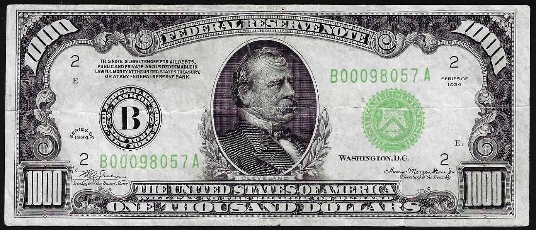 1934 $1000 Federal Reserve Note New York