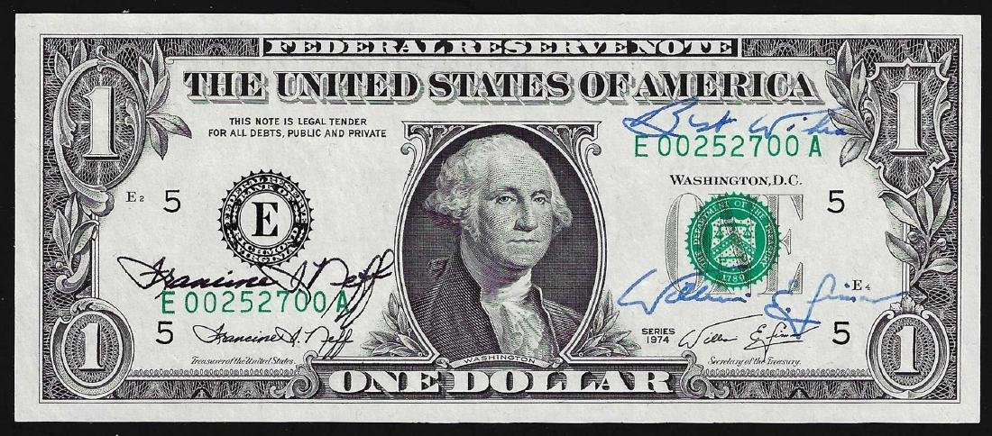 1974 $1 Federal Reserve Note Dual Courtesy Autographs