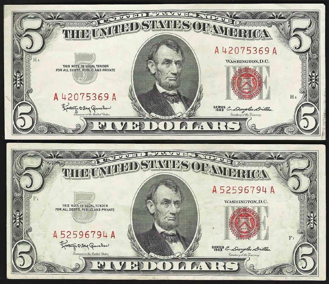 Lot of (2) 1963 $5 Legal Tender Notes