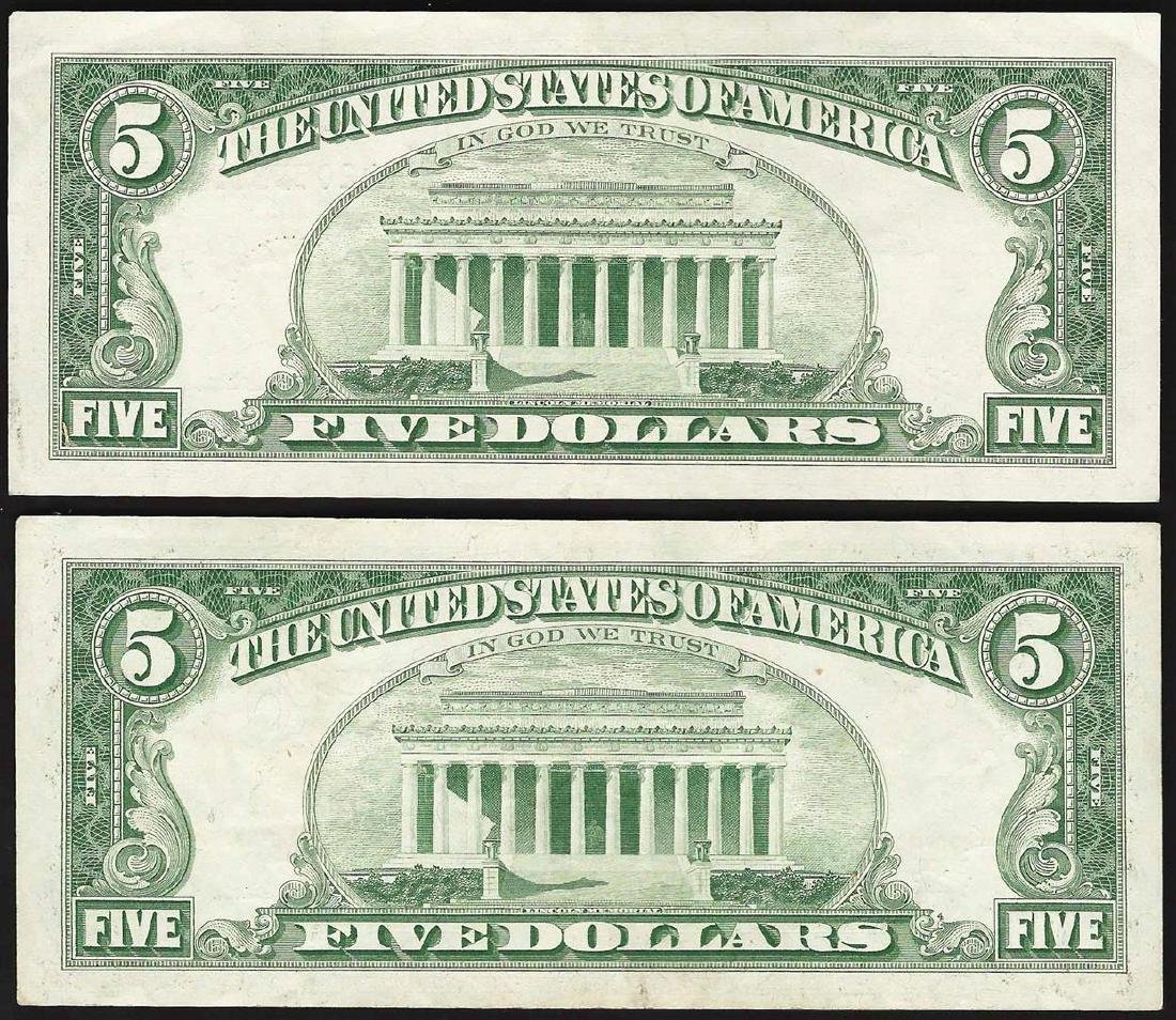 Lot of (2) 1963 $5 Legal Tender Notes - 2