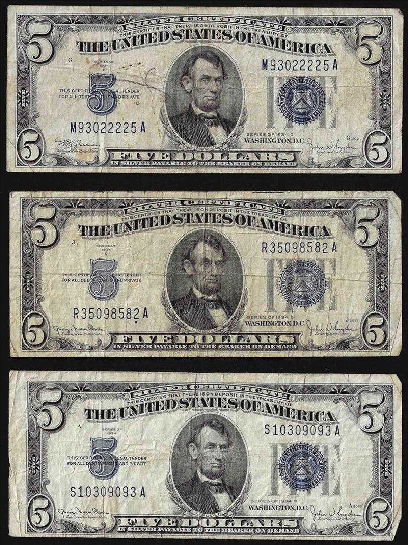 Lot of (3) 1934 $5 Silver Certificate Notes