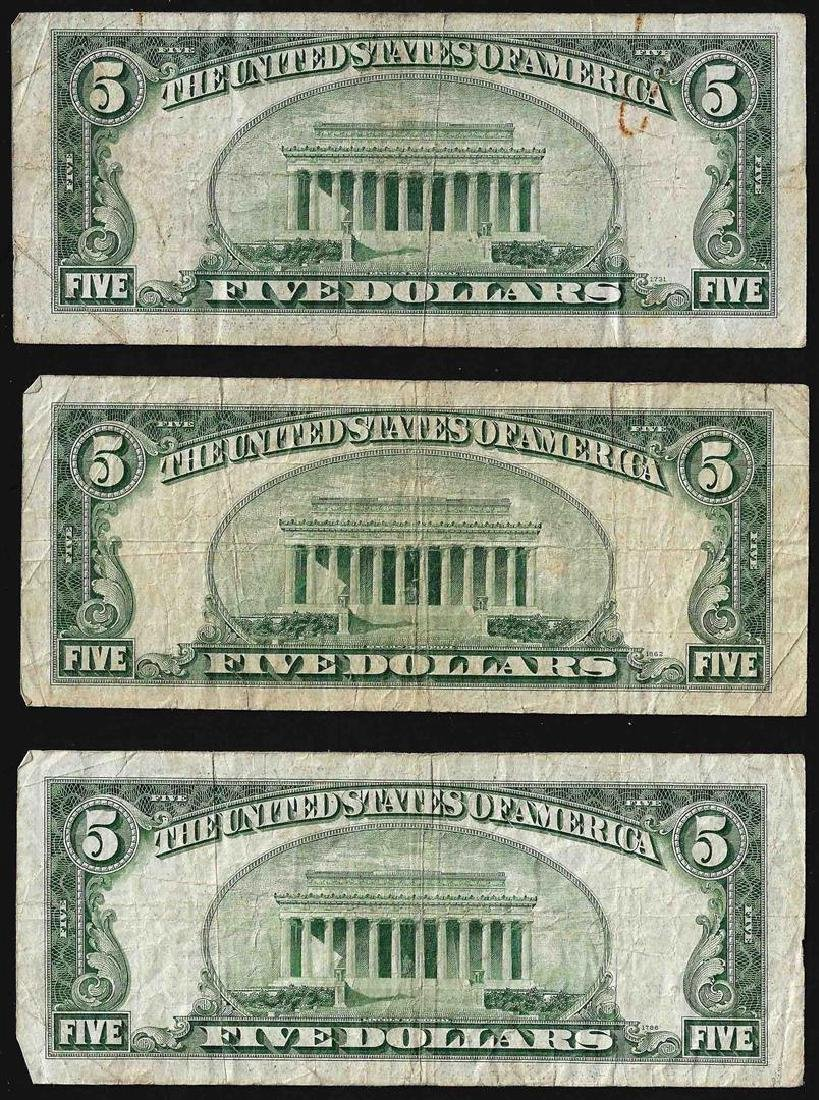 Lot of (3) 1934 $5 Silver Certificate Notes - 2