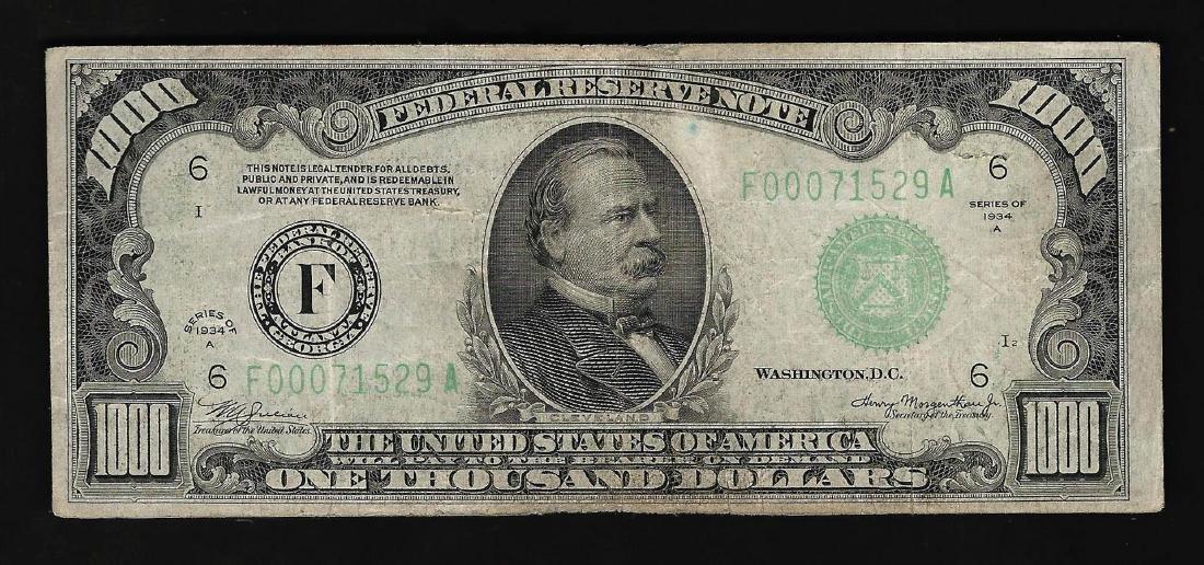 1934A $1,000 Federal Reserve Note Atlanta
