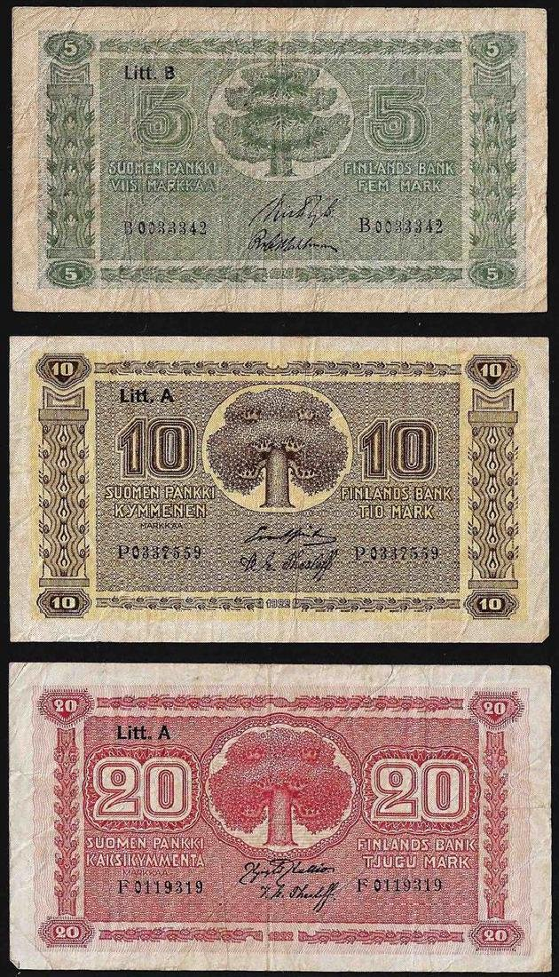 Lot of (3) Miscelaneous Finland Currency notes
