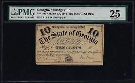 1863 Ten Cents Milledgeville Georgia Obsolete Bank Note