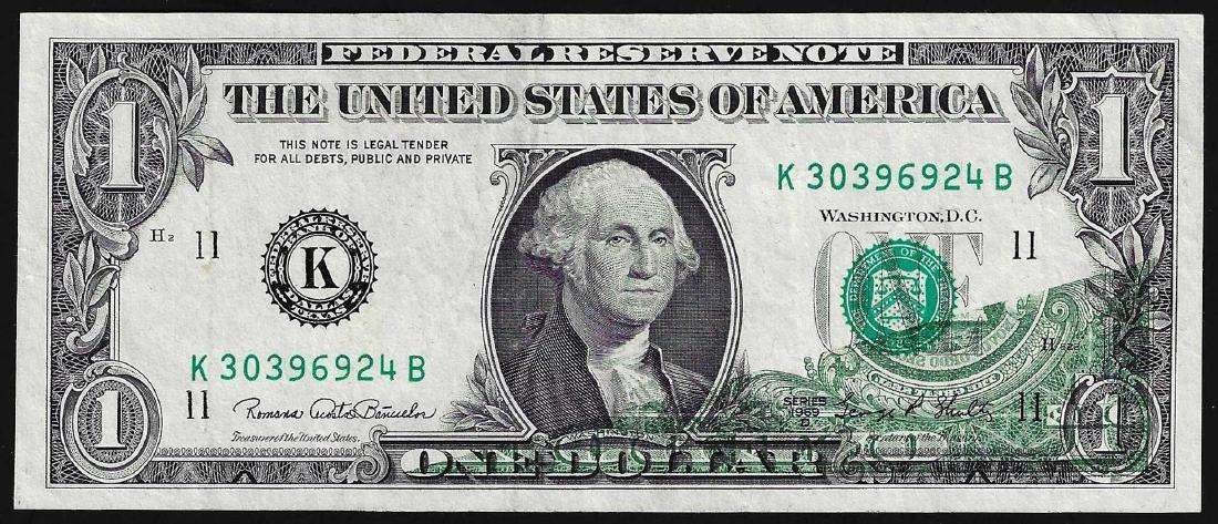 1963D $1 Federal Reserve Note ERROR Partial Offset