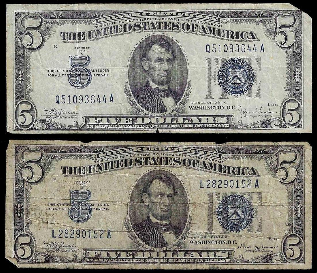 Lot of (2) 1934 $5 Silver Certificate Notes