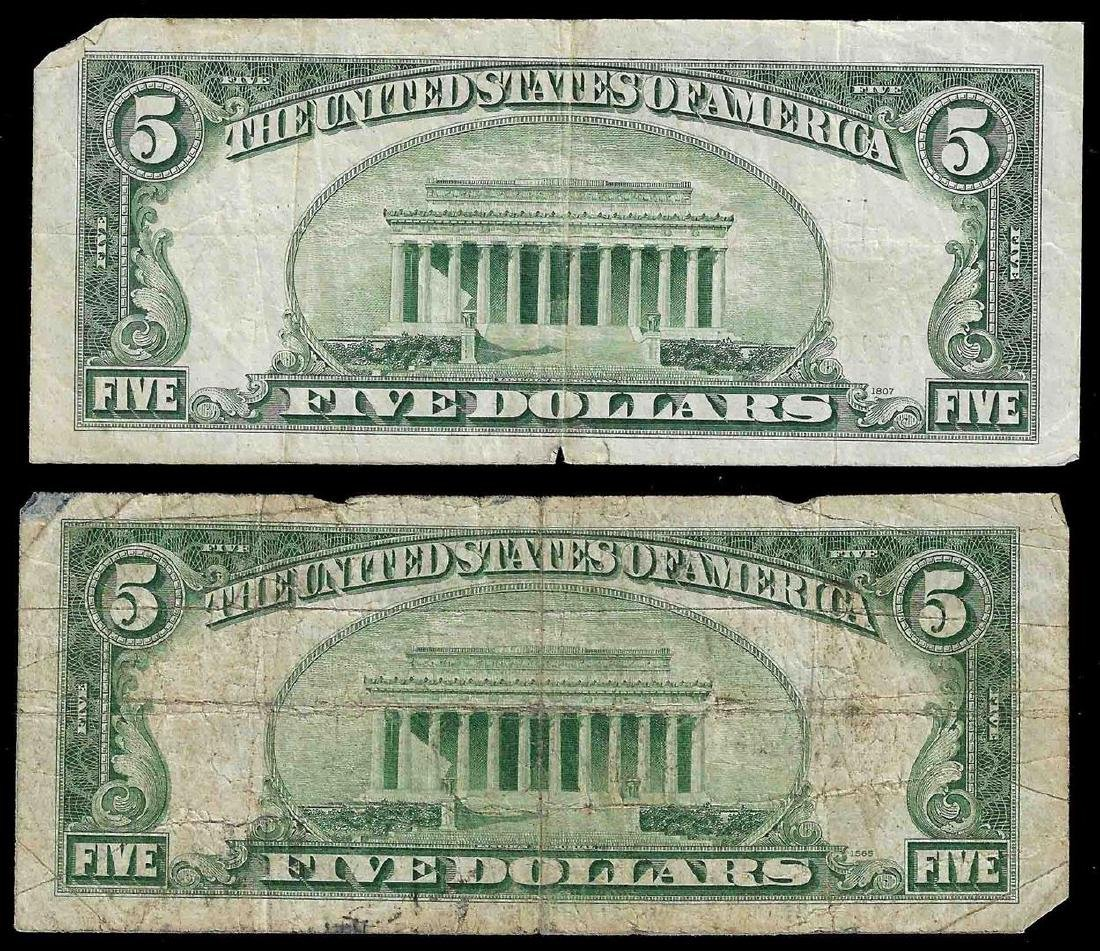 Lot of (2) 1934 $5 Silver Certificate Notes - 2
