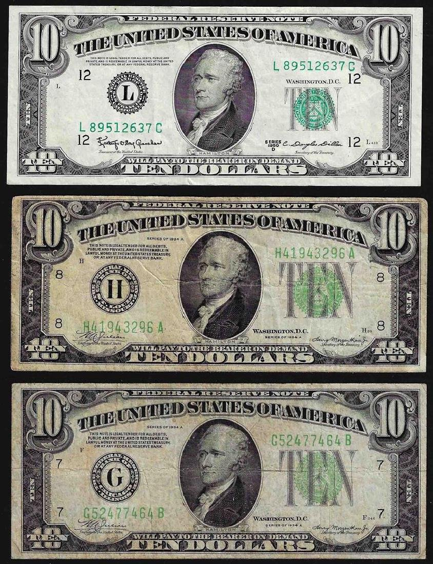 Lot of (3) 1934 & 1950 $10 Federal Reserve Notes