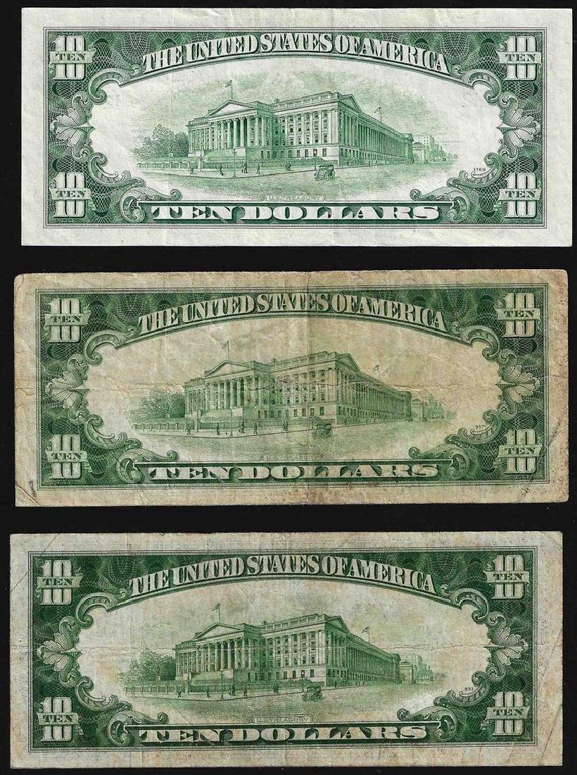 Lot of (3) 1934 & 1950 $10 Federal Reserve Notes - 2