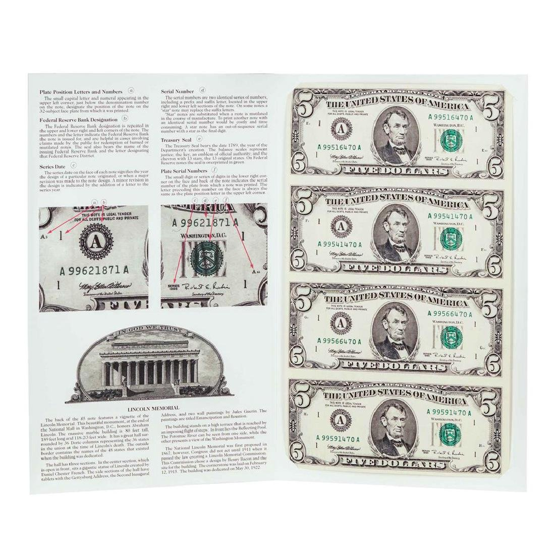 Uncut Sheet of (4) 1995 $5 Federal Reserve Notes