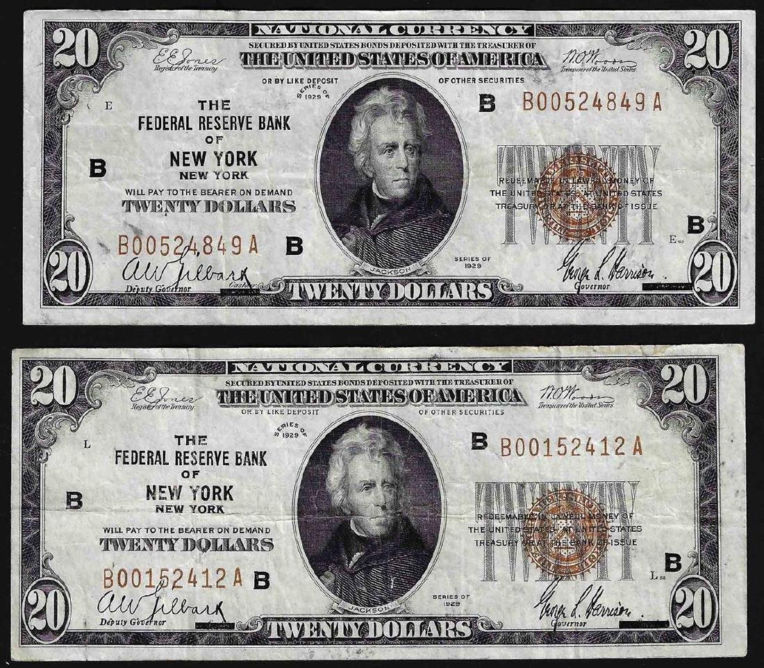 Lot of (2) 1929 $20 Federal Reserve Bank of New York