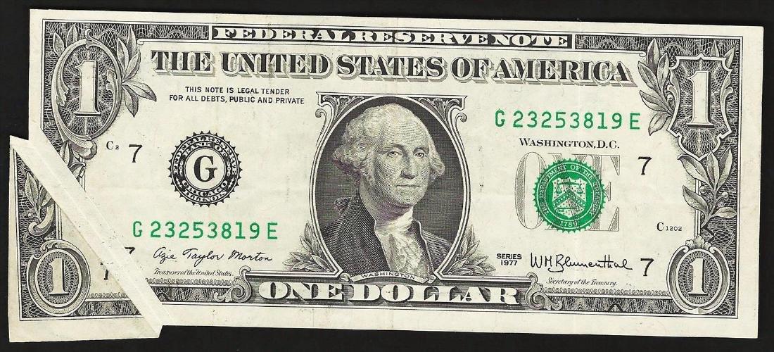 1977 $1 Federal Reserve Note Gutter Fold ERROR
