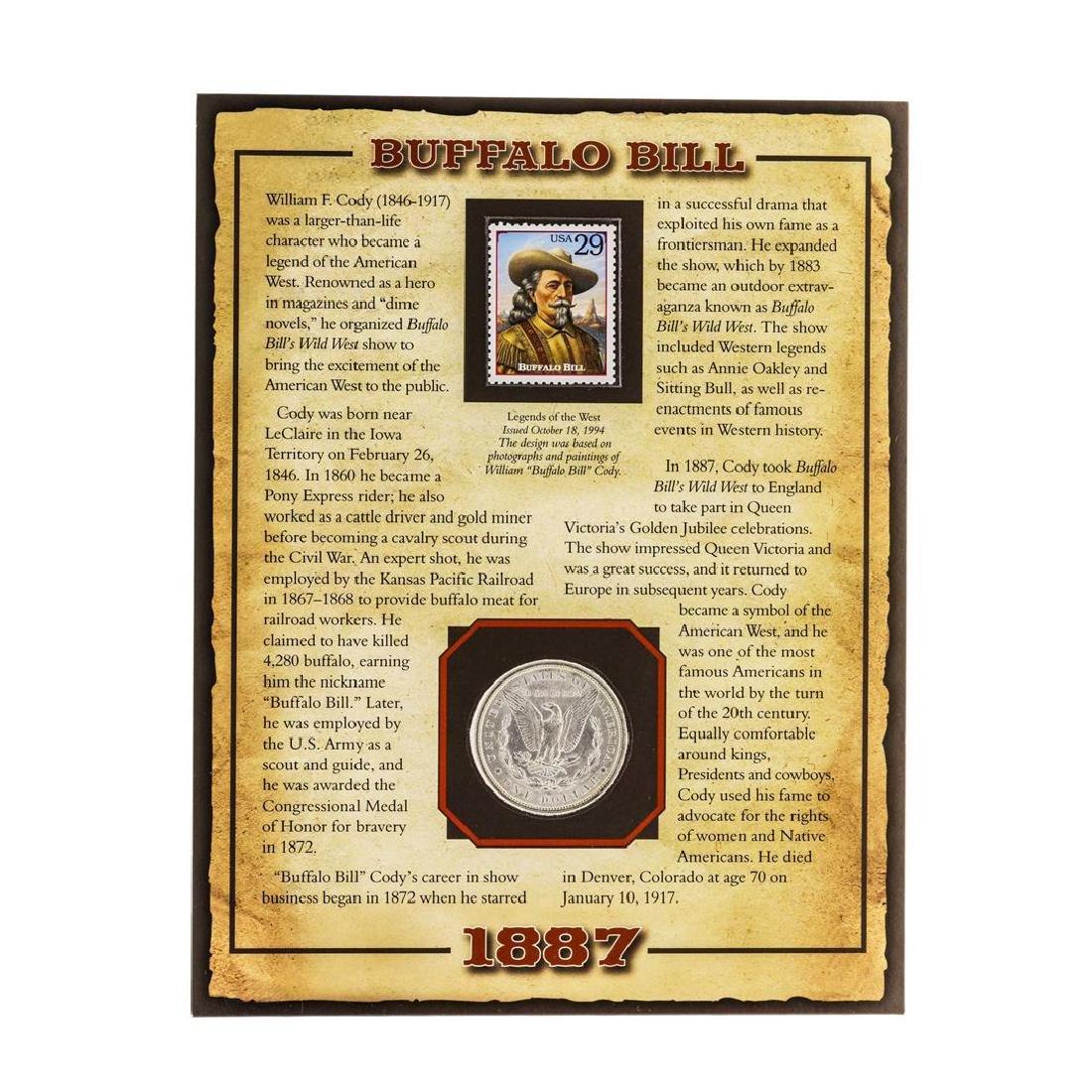 """1887 $1 Morgan Silver Dollar Coin with William """"Buffalo - 2"""