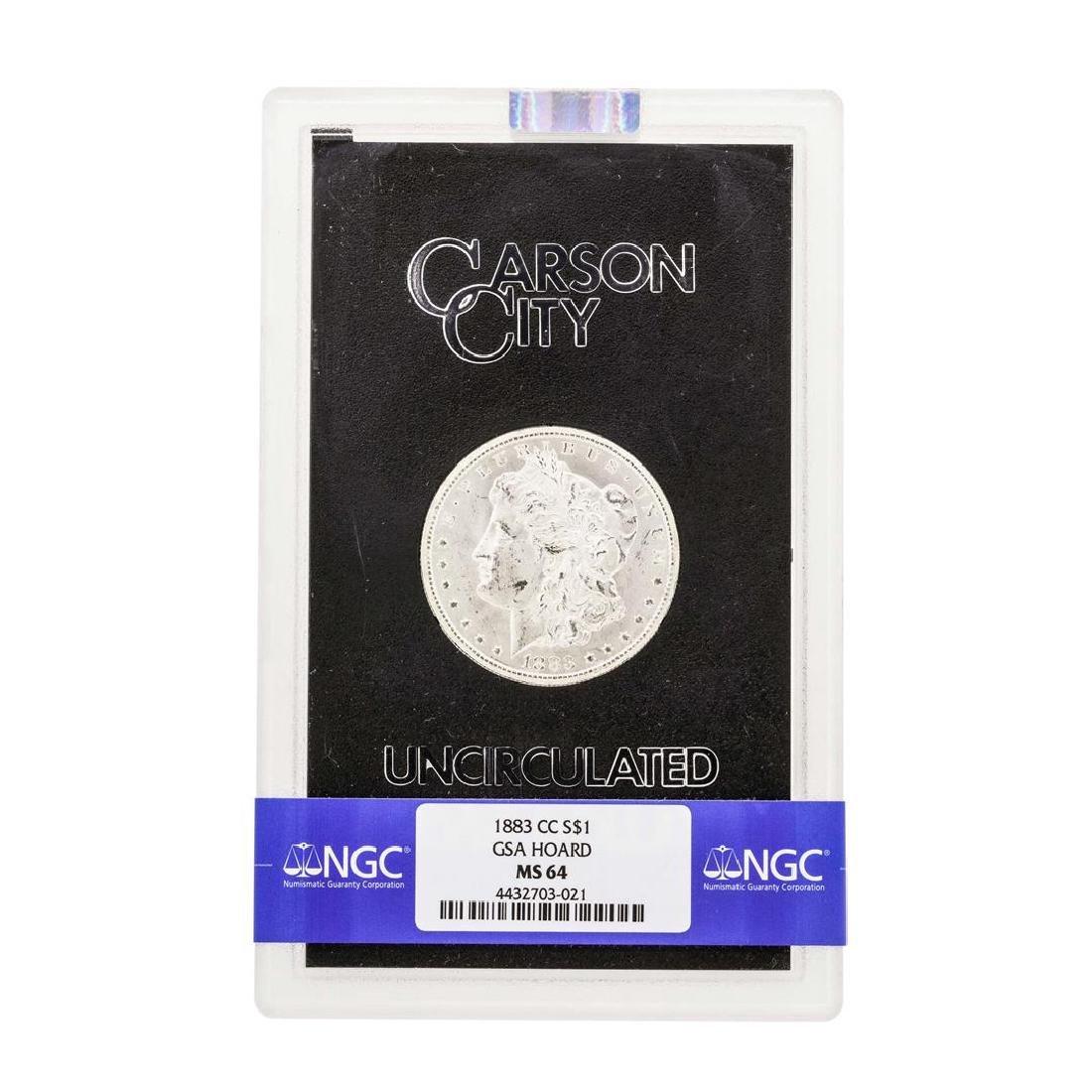 1883-CC $1 Morgan Silver Dollar Coin NGC MS64 GSA