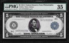 1914 $5 Federal Reserve Note PMG Choice Very Fine 35