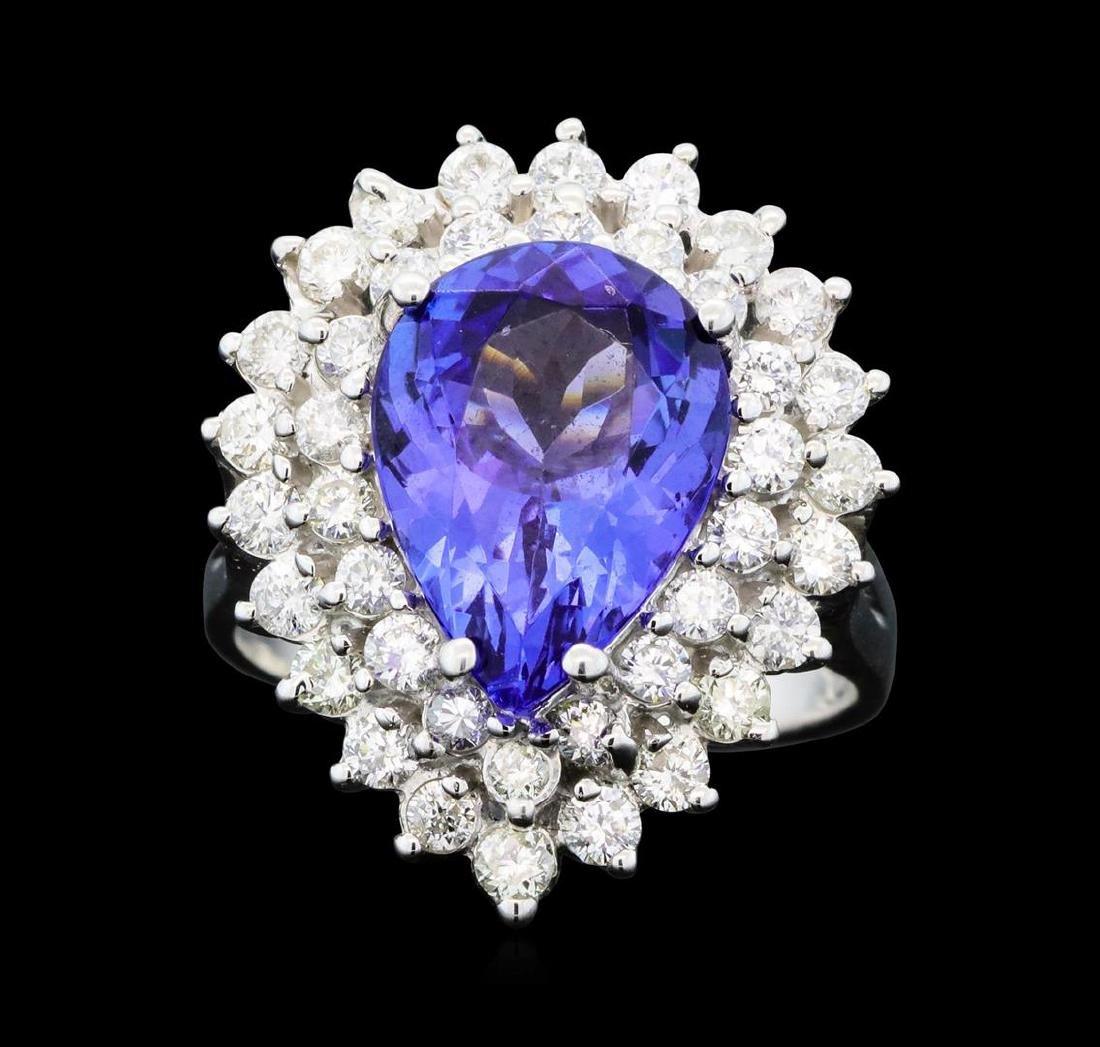 14KT White Gold 4.37ct Tanzanite and Diamond Ring