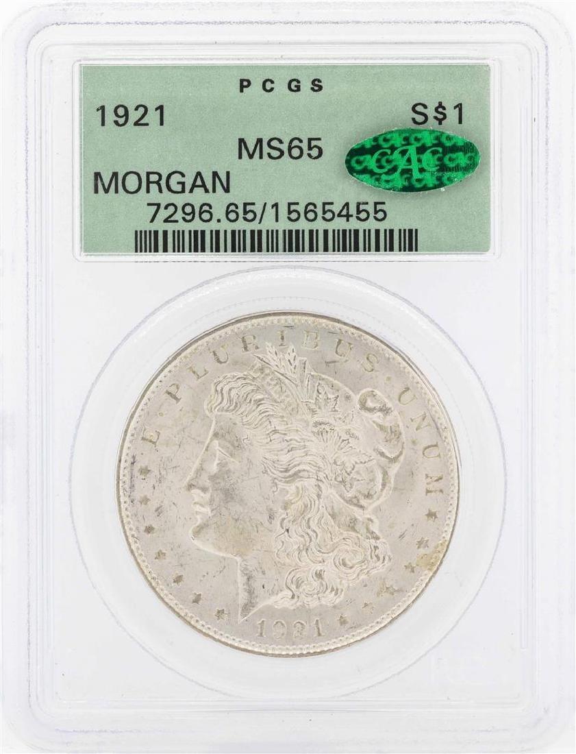 1921 $1 Morgan Silver Dollar Coin PCGS MS65 CAC