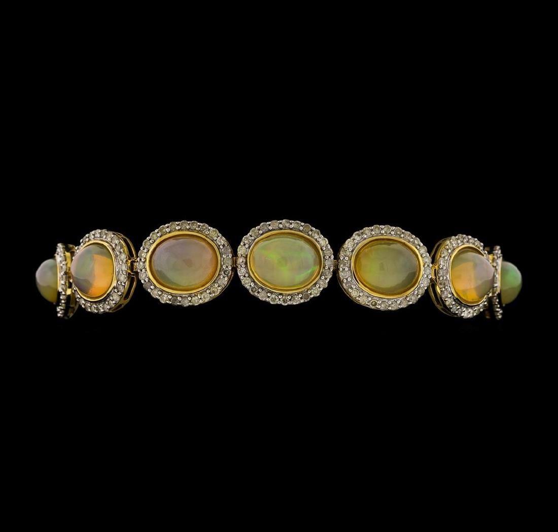 14KT Yellow Gold 17.95ctw Opal and Diamond Bracelet