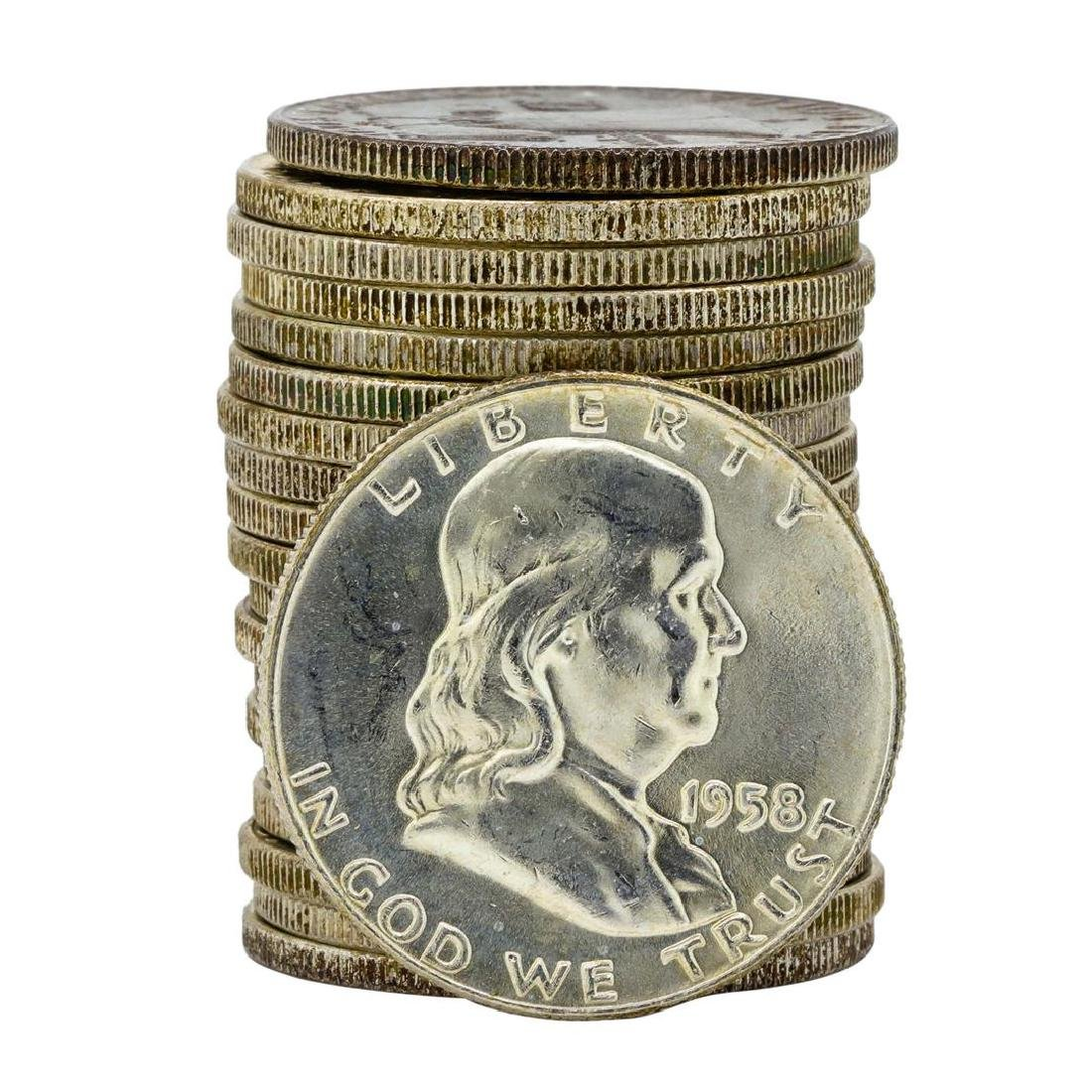 Roll of (20) 1958-D Brilliant Uncirculated Franklin