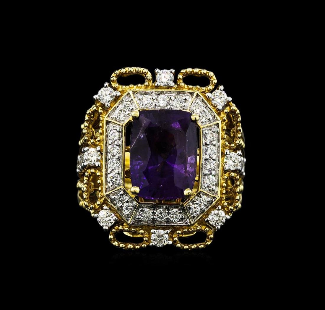 14KT Two Tone Gold 4.87ct Purple Sapphire and Diamond